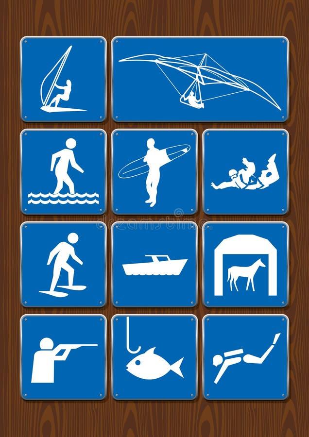 Комплект значков мероприятий на свежем воздухе: параглайдинг, парашютирующ, занимающся серфингом, удящ, нырять, охотясь Значки в  иллюстрация вектора