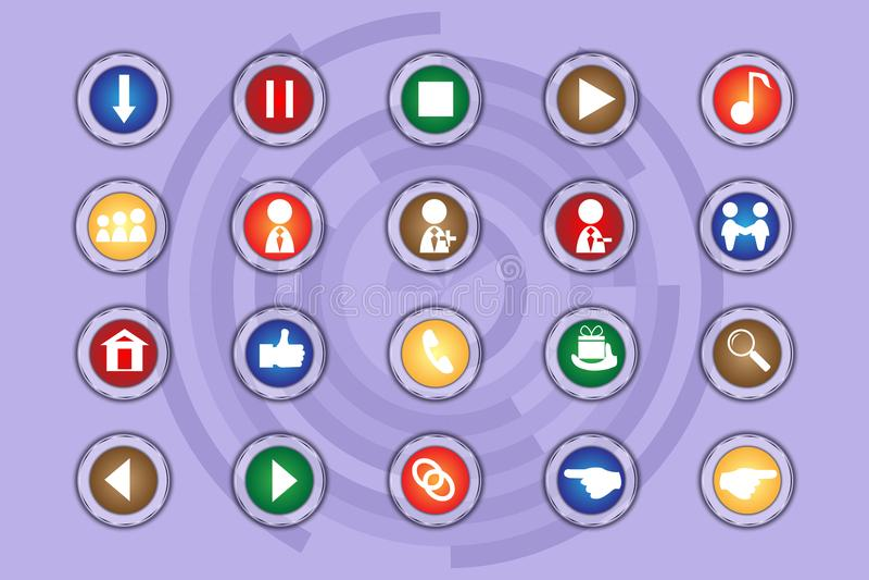 Комплект значков на покрашенных кнопках с прозрачными элементами Часть 10 бесплатная иллюстрация