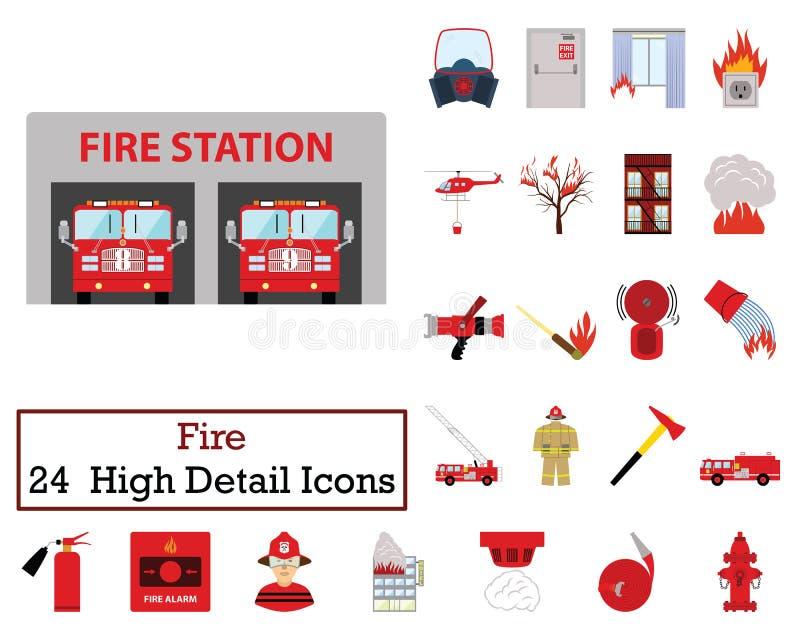 Комплект 24 значков огня иллюстрация штока