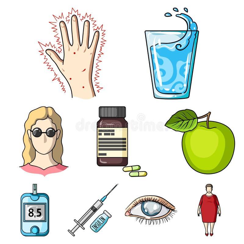 Комплект значков о сахарных диабетах Симптомы и обработка диабета Значок диабета в собрании комплекта на шарже иллюстрация штока