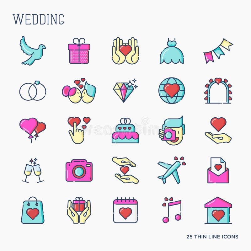 Комплект значков свадьбы в линии стиле для приглашения иллюстрация вектора