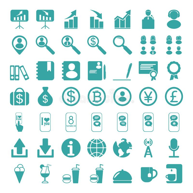 Комплект значков сети для дела, финансов и сообщения иллюстрация вектора