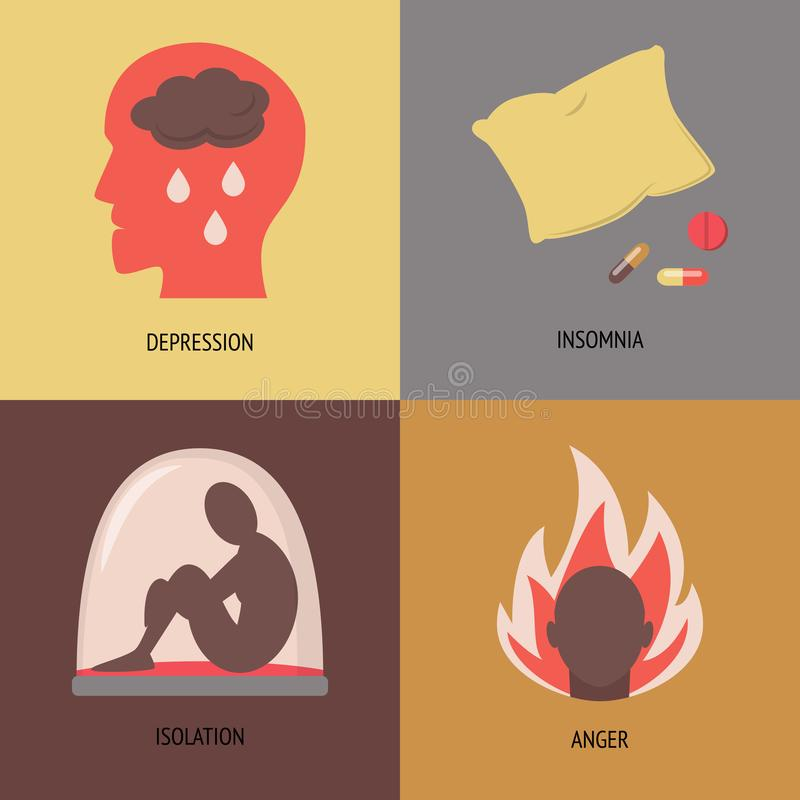 Комплект значков симптомов депрессии в плоском стиле иллюстрация штока