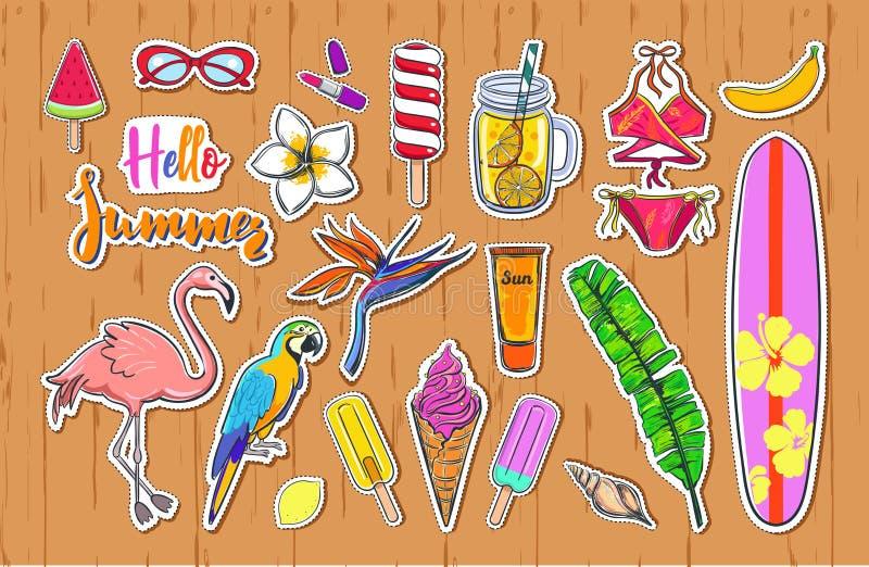 Комплект значков стикеров лета моды иллюстрация штока