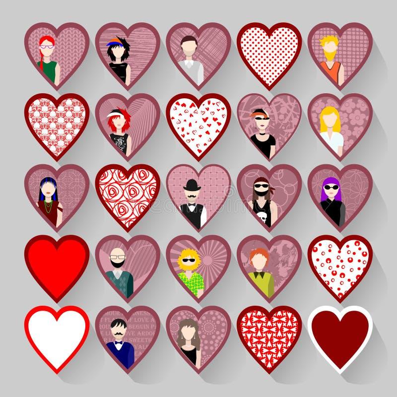 Комплект значков с людьми в сердцах бесплатная иллюстрация