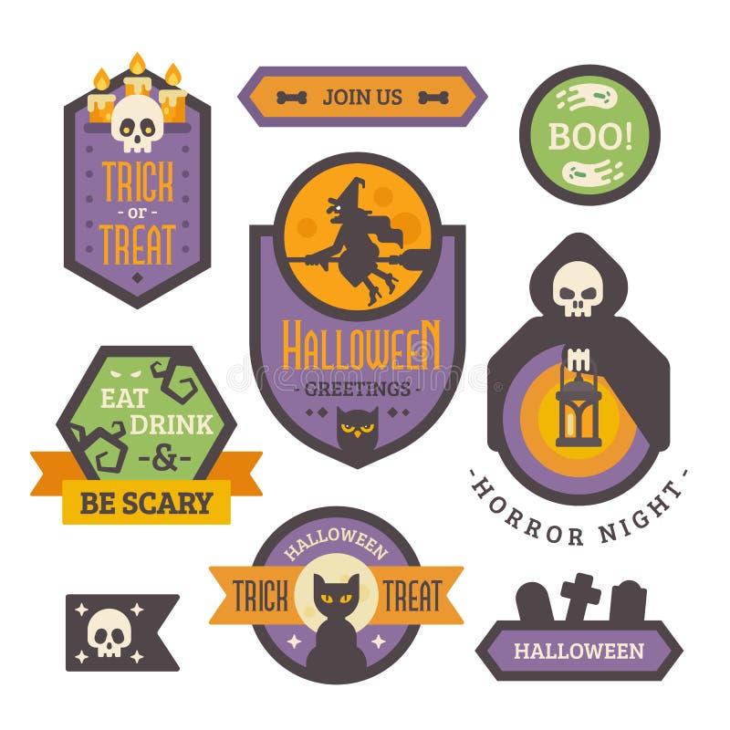 Комплект значков хеллоуина Плоские элементы и знамена праздника иллюстрация штока