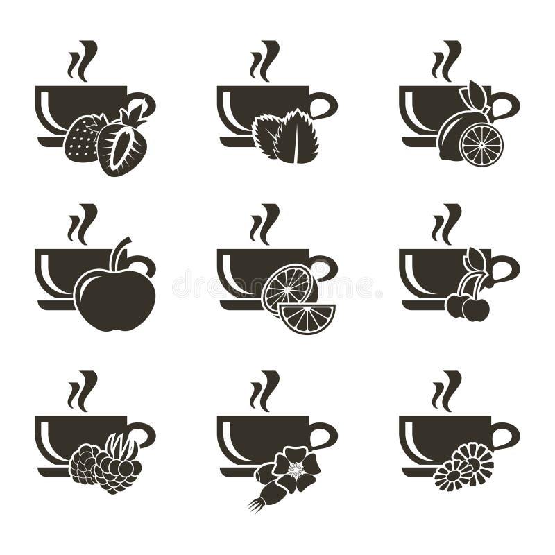 Комплект 9 значков чашек чаю с различными вкусами ягод, плодоовощей и трав иллюстрация вектора