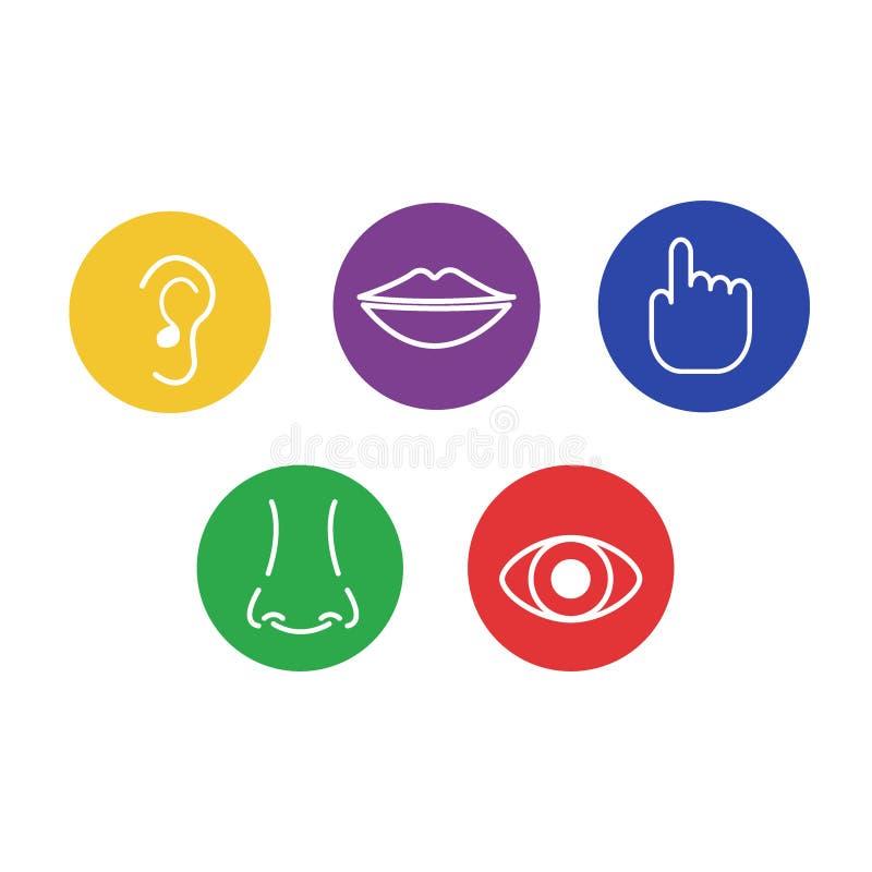Комплект значков 5 человеческих чувств: визирование, запах, слух, касание, вкус иллюстрация вектора