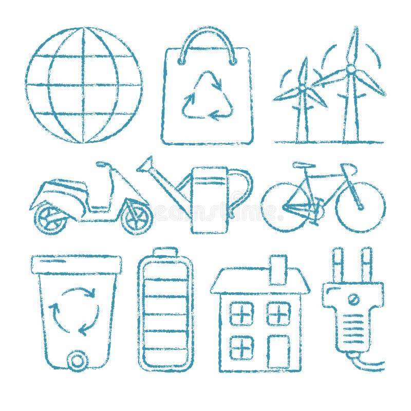 Комплект значков экологичности в стиле эскиза бесплатная иллюстрация