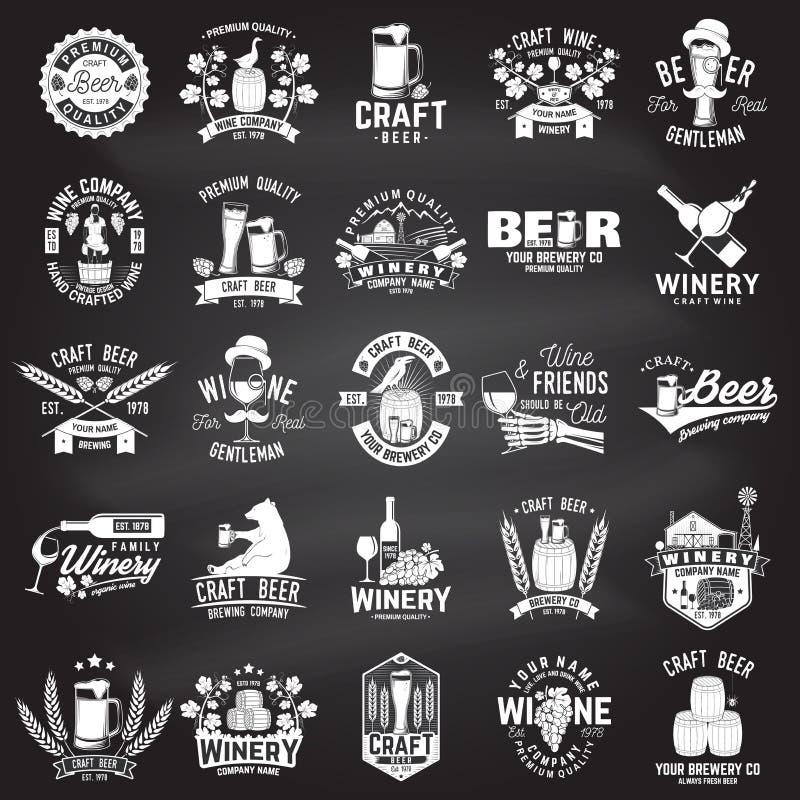 Комплект значок компании пива и винодельни ремесла, знак или ярлык также вектор иллюстрации притяжки corel иллюстрация вектора