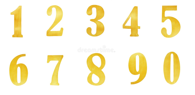 Комплект золота золота номеров изолированных над белой предпосылкой цифрово стоковые изображения