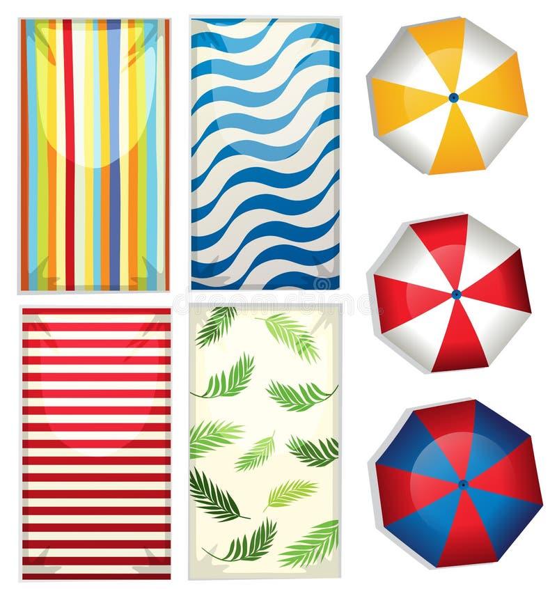 Комплект зонтиков и полотенец пляжа иллюстрация вектора