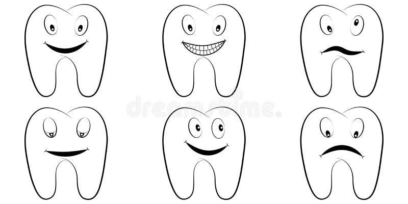 Комплект зубов шаржа, моляров с эмоциями на стороне, улыбки вектора зуба шуточных, гнева и потехи, зубоврачебного офиса иллюстрация вектора