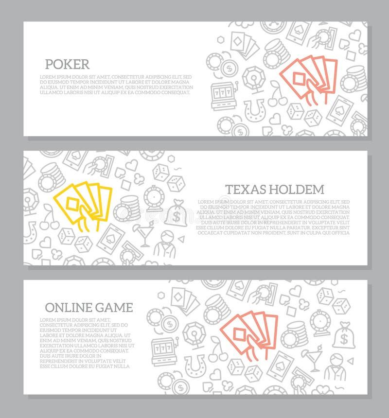 Комплект играть в азартные игры вектора и знамен казино горизонтальные с картиной значка также вектор иллюстрации притяжки corel иллюстрация штока