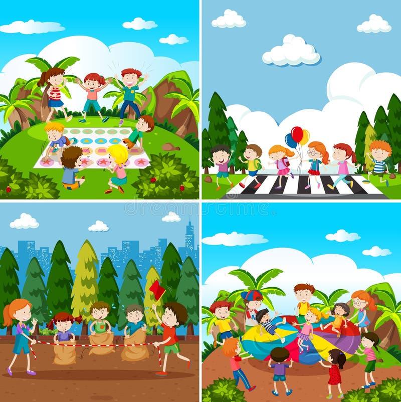 Комплект играть детей иллюстрация штока