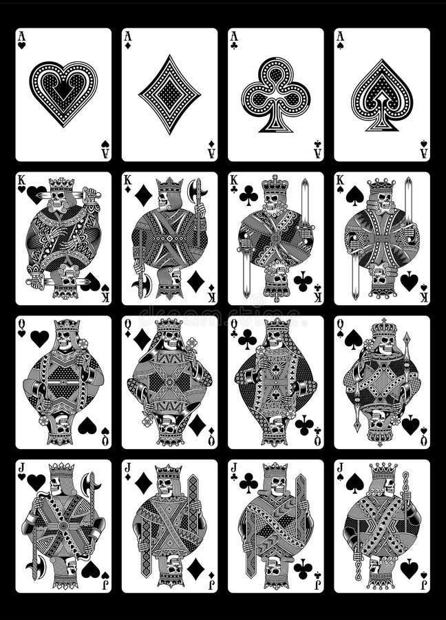 Комплект играя карточек черепа в черно-белом изолированный на черноте иллюстрация штока