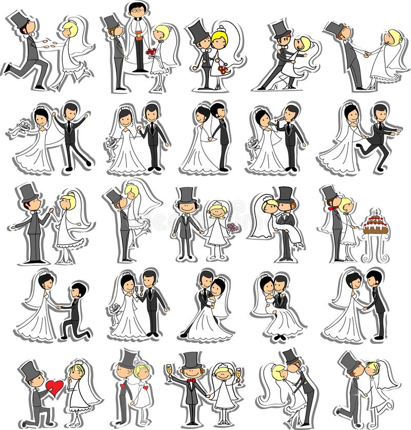 Комплект изображений венчания, вектор иллюстрация штока