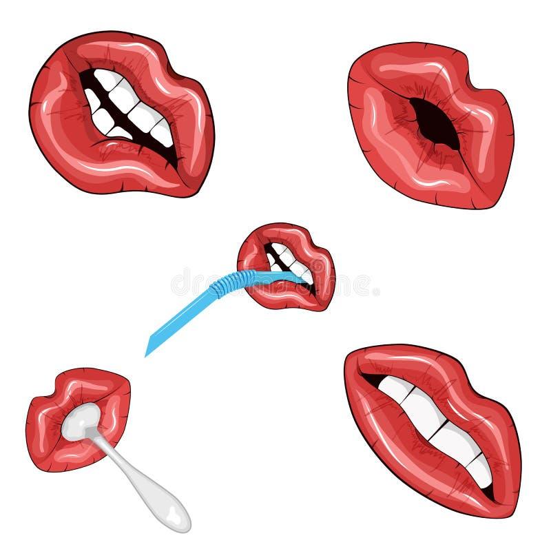 Комплект 5 изображений красных сияющих губ бесплатная иллюстрация