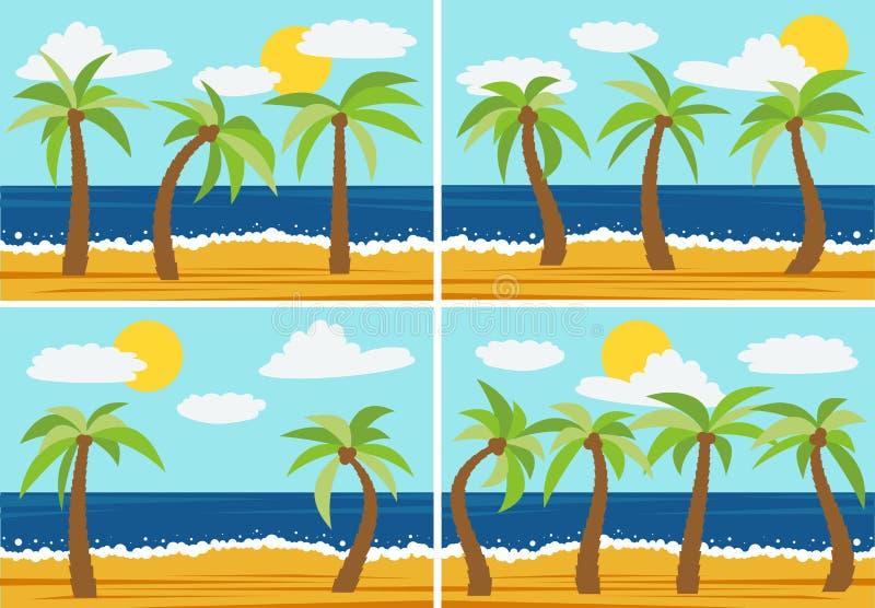 Комплект 4 изображений с ландшафтами природы шаржа бесплатная иллюстрация