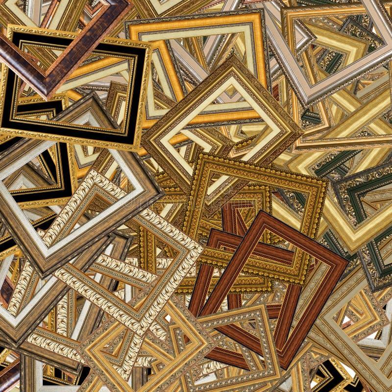 комплект изображения золота рамки стоковые фотографии rf