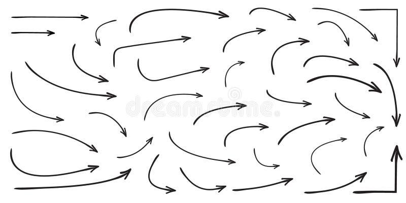 Комплект изогнутой вектором нарисованной руки стрелок Стиль doodle эскиза иллюстрация вектора