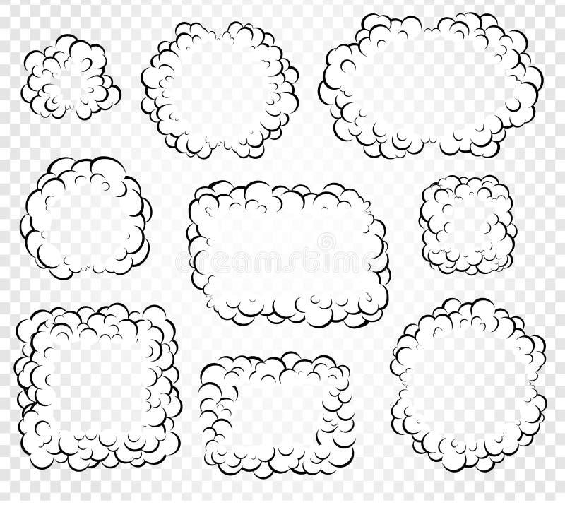 Комплект изолированной речи шаржа клокочет, рамки дыма или пар, комиксы dialogue облако, иллюстрация вектора на белизне иллюстрация вектора