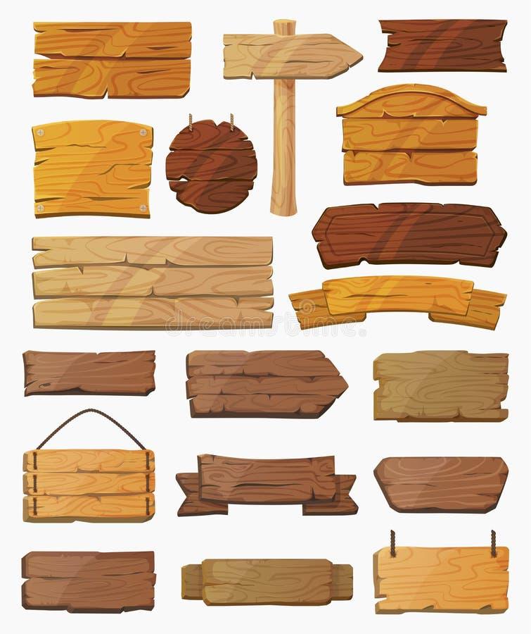 Комплект изолированных знаков указателей или деревянных планок иллюстрация вектора