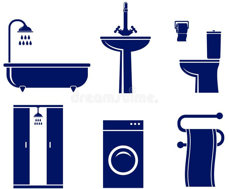 Комплект изолированных предметов ванны иллюстрация штока