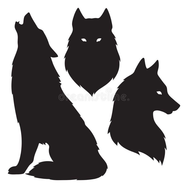 Комплект изолированных силуэтов волка Иллюстрация вектора дизайна стикера, печати или татуировки Языческий тотем, wiccan искусств иллюстрация вектора