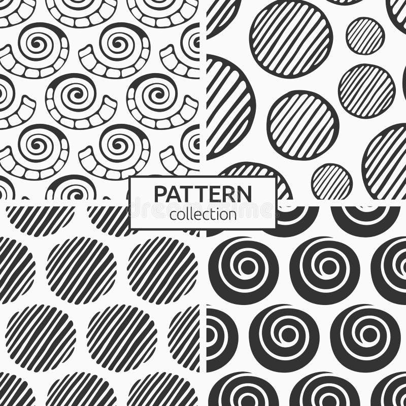 Комплект из четырех бесшовных узоров, нарисованных вручную натуральных форм, ракушек, спираль, чередующихся кругов иллюстрация штока