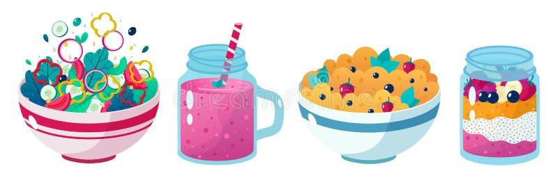 Комплект из четырех рисунков, иллюстрирующих здоровую пищу: ягодный смузи, овощной салат, чайный семенной пудинг, овсянка с чашко бесплатная иллюстрация