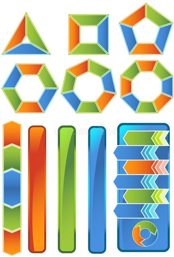 комплект иконы диаграммы шеврона иллюстрация вектора