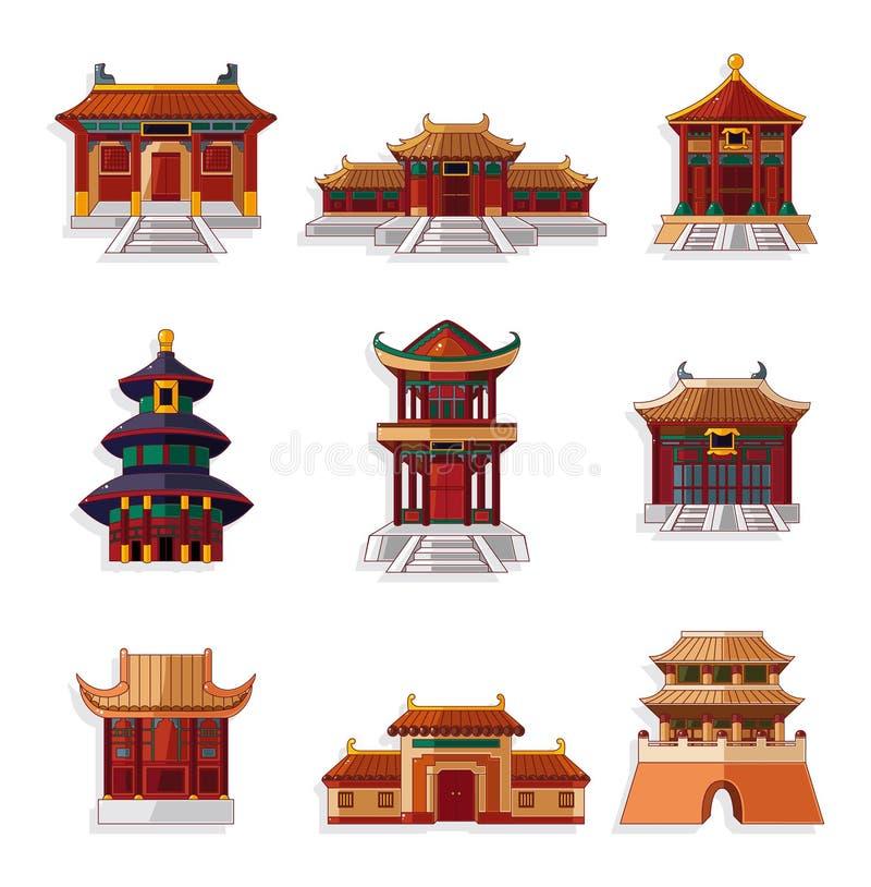 комплект иконы дома шаржа китайский иллюстрация вектора