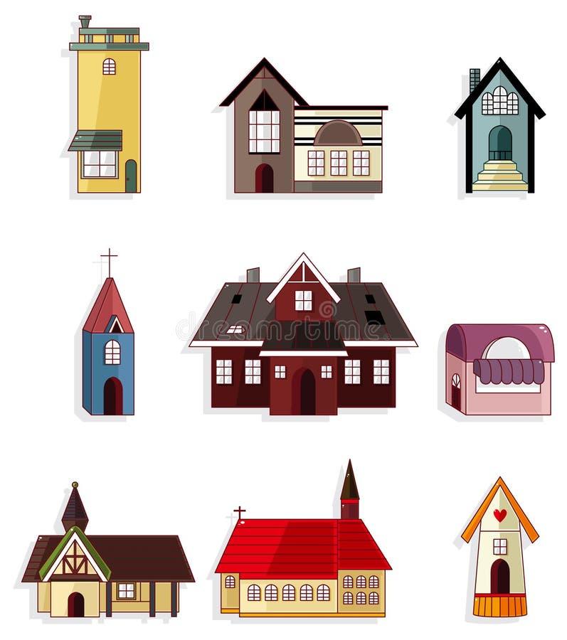 комплект иконы дома шаржа иллюстрация вектора