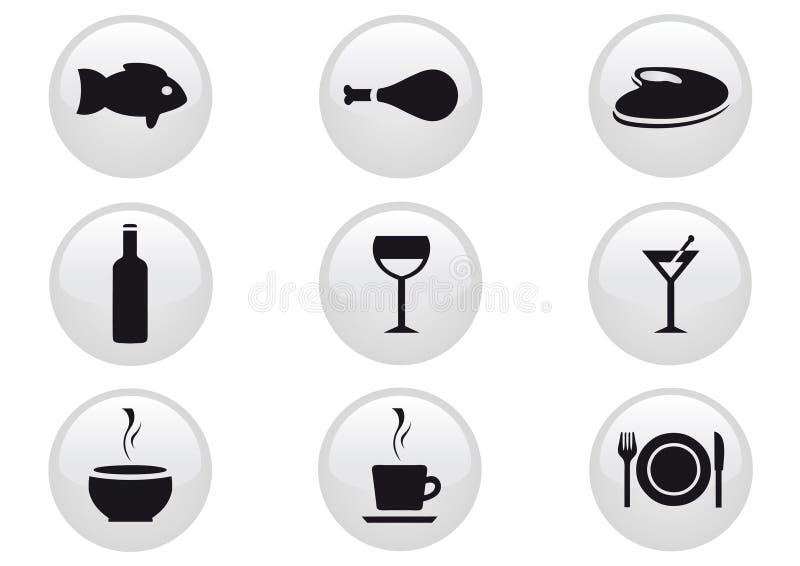 комплект иконы еды пить иллюстрация штока