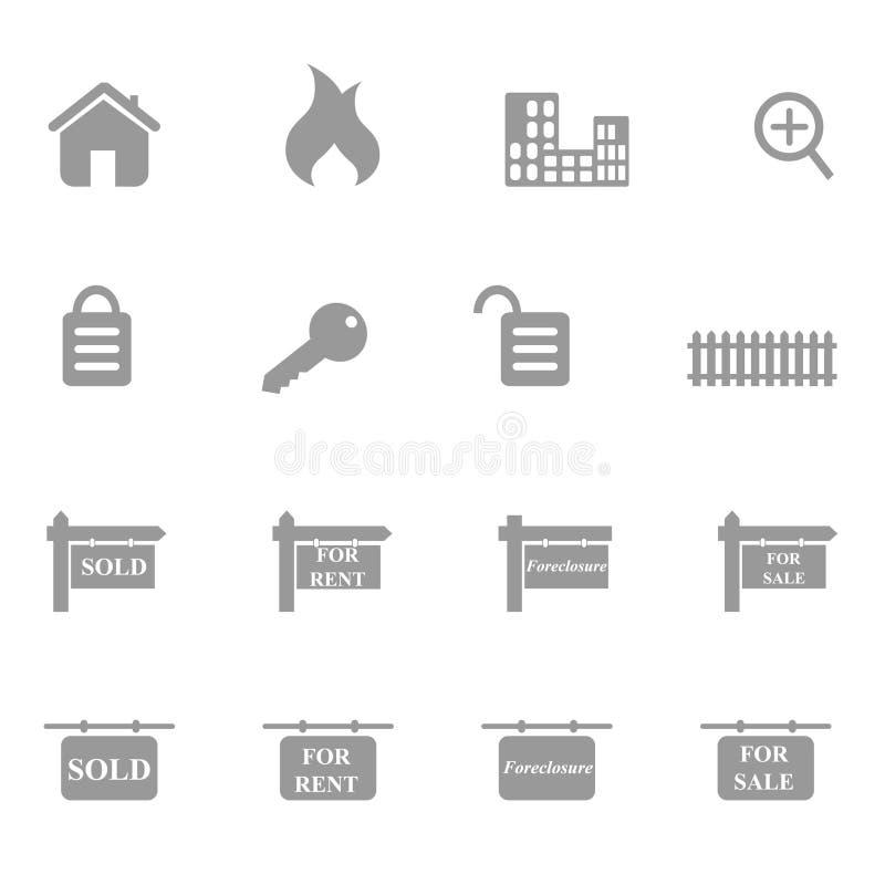 комплект иконы имущества реальный иллюстрация штока