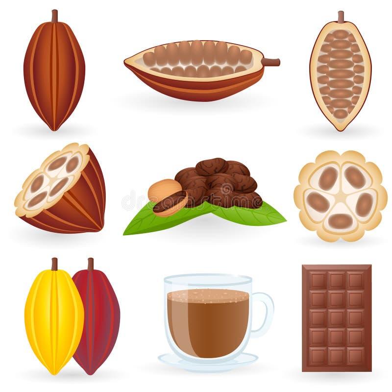 комплект иконы какао иллюстрация вектора