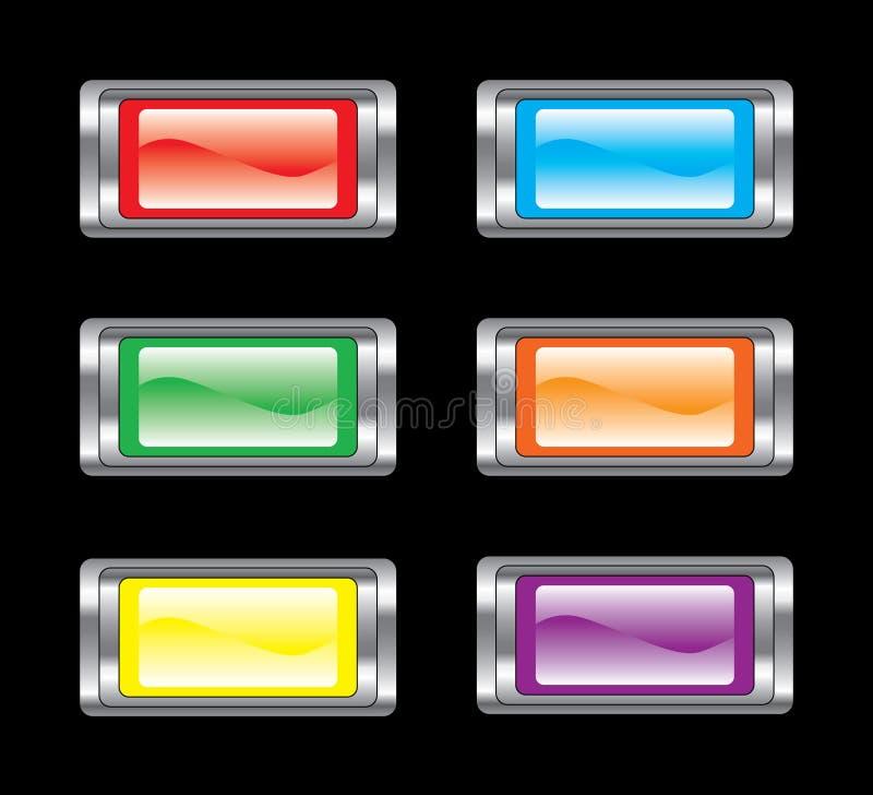 комплект иконы кнопки лоснистый бесплатная иллюстрация