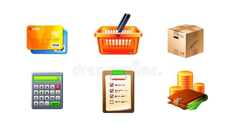 комплект иконы коммерции e иллюстрация вектора