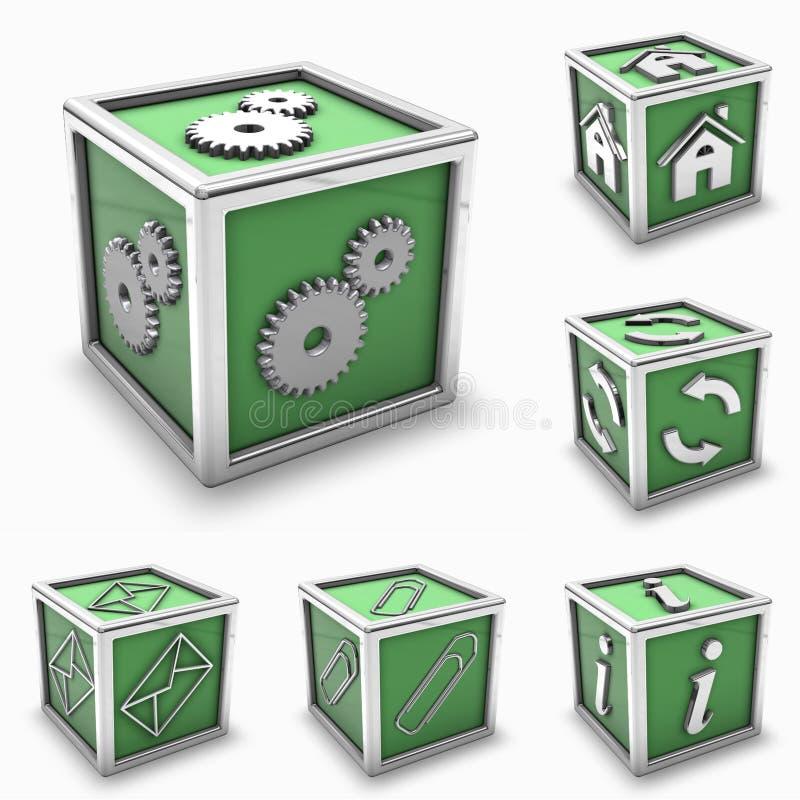 комплект иконы коробки зеленый иллюстрация вектора
