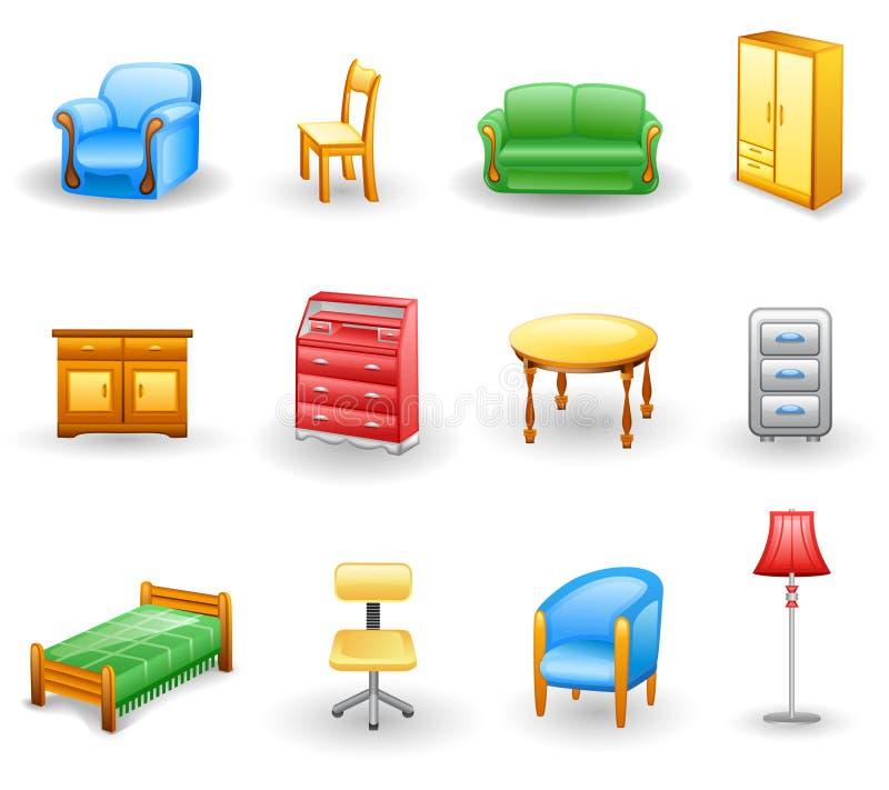 комплект иконы мебели иллюстрация вектора