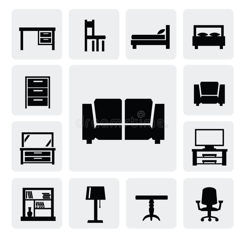 Комплект иконы мебели иллюстрация штока