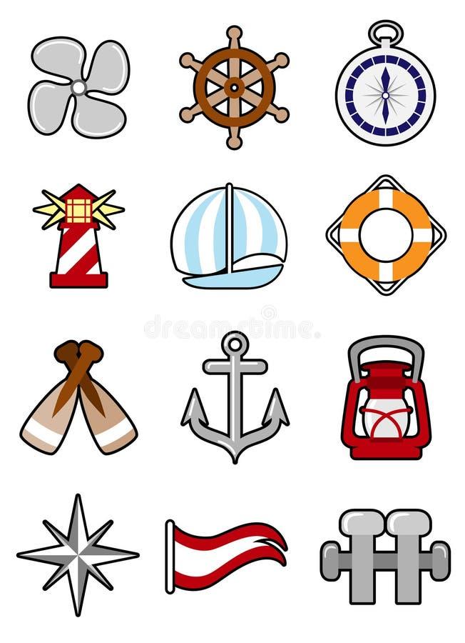 комплект иконы морской иллюстрация штока