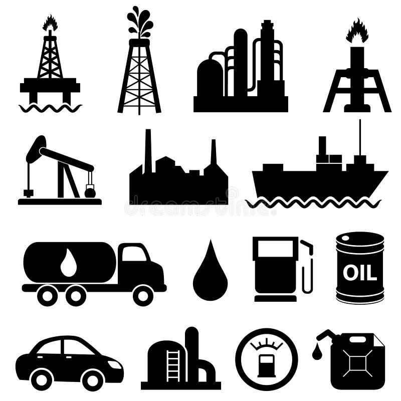Комплект иконы нефтедобывающей промышленности иллюстрация вектора