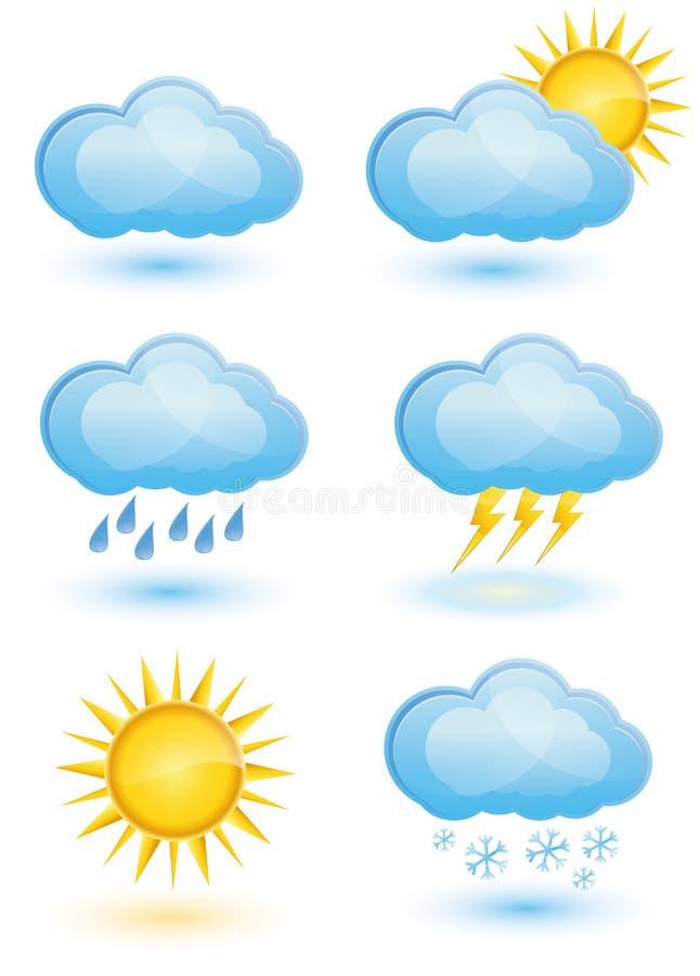 Комплект иконы погоды иллюстрация вектора