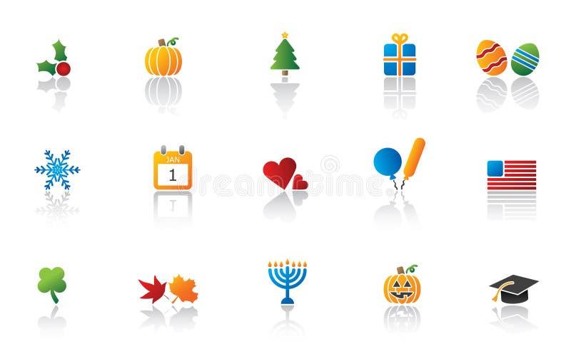 комплект иконы праздника иллюстрация вектора