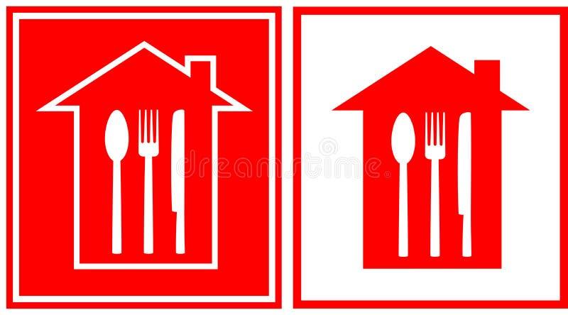 Комплект иконы ресторана с домом и утварью иллюстрация вектора