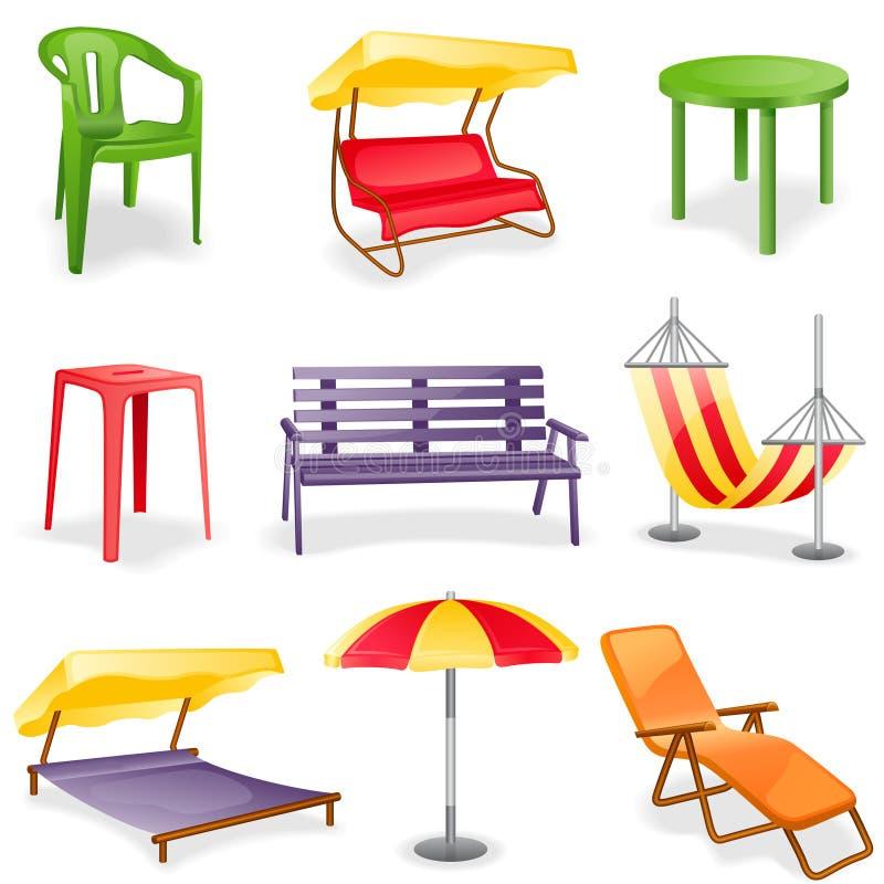комплект иконы сада мебели иллюстрация вектора