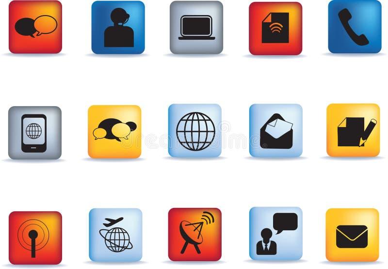 комплект иконы связи кнопки иллюстрация штока
