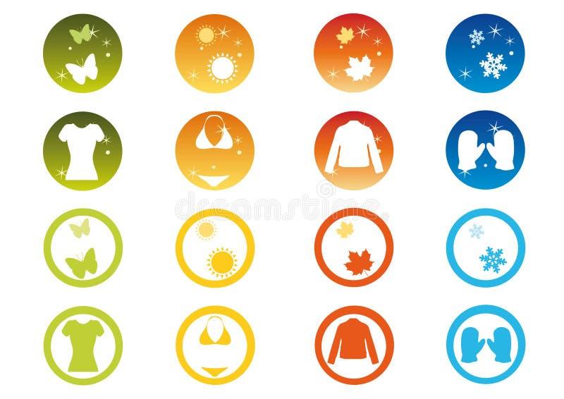 комплект иконы сезонный иллюстрация штока
